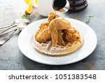 fried chicken and waffles with... | Shutterstock . vector #1051383548