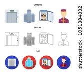 elevator car  mini bar  staff ... | Shutterstock .eps vector #1051384832