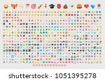 emoticon set. vector emoji set. ... | Shutterstock .eps vector #1051395278