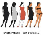 vector silhouettes of beautiful ... | Shutterstock .eps vector #1051401812