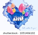happy easter card with bunny... | Shutterstock .eps vector #1051406102