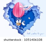 happy easter card with bunny ... | Shutterstock .eps vector #1051406108