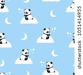 seamless night pattern with... | Shutterstock .eps vector #1051414955