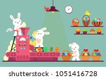conveyor line with rabbits... | Shutterstock .eps vector #1051416728