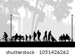 people silhouettes  urban... | Shutterstock .eps vector #1051426262