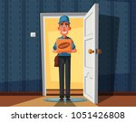 delivery guy handing a box on... | Shutterstock .eps vector #1051426808