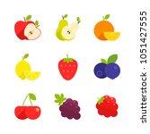food   fruit   flat icon set  ... | Shutterstock .eps vector #1051427555