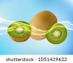 tasty ripe kiwi in clean water. ... | Shutterstock .eps vector #1051429622