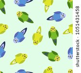 seamless pattern with parrots.... | Shutterstock .eps vector #1051431458