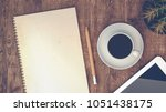 coffee cups  notebooks  and the ... | Shutterstock . vector #1051438175