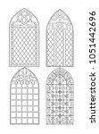 gothic windows. vintage frames. ... | Shutterstock . vector #1051442696