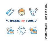 brushing my teeth card ... | Shutterstock .eps vector #1051455182