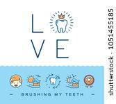 brushing my teeth card ... | Shutterstock .eps vector #1051455185