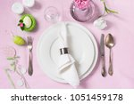 elegance table setting spring... | Shutterstock . vector #1051459178