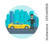machine yellow cab with driver... | Shutterstock .eps vector #1051469828