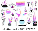 scandinavian flower set.... | Shutterstock .eps vector #1051472702