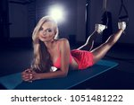 gorgeous blonde woman with long ...   Shutterstock . vector #1051481222
