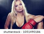 half portrait of young blonde...   Shutterstock . vector #1051490186