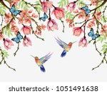 beautiful  vector floral summer ... | Shutterstock .eps vector #1051491638