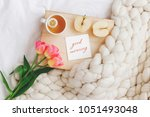 wooden tray with cup of tea ... | Shutterstock . vector #1051493048