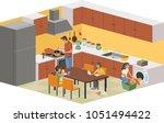 cartoon family in the kitchen.    Shutterstock .eps vector #1051494422
