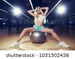 pretty slim blonde woman with... | Shutterstock . vector #1051502438