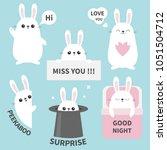 bunny rabbit sticker emotion... | Shutterstock .eps vector #1051504712