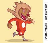 baseball lion mascot running... | Shutterstock .eps vector #1051505105