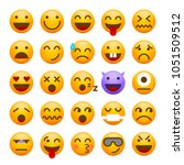 set of cute emoticons on white...   Shutterstock .eps vector #1051509512