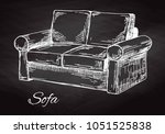 sofa isolated on chalkboard.... | Shutterstock .eps vector #1051525838