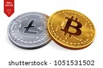 bitcoin. litecoin. 3d isometric ... | Shutterstock .eps vector #1051531502