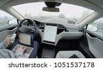 autonomous tesla car  february... | Shutterstock . vector #1051537178