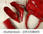 red shoes with red handbag and... | Shutterstock . vector #1051538045