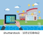 smart home technology and... | Shutterstock .eps vector #1051538462