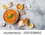traditional red lentil dal.... | Shutterstock . vector #1051538642