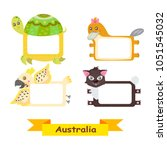 cute animal labels. frames with ... | Shutterstock . vector #1051545032