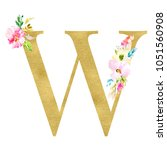 gold monogram letters with... | Shutterstock . vector #1051560908