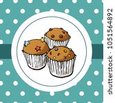 three muffins for logo on... | Shutterstock .eps vector #1051564892