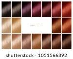 color chart for hair dye. hair... | Shutterstock . vector #1051566392