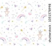 unicorn magic seamless pattern... | Shutterstock .eps vector #1051578998