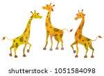 three cartoon giraffes. clip...   Shutterstock .eps vector #1051584098