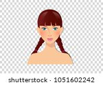 beautiful girl with blue eyes... | Shutterstock .eps vector #1051602242