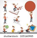 cartoon kid. mascot boy wearing ...   Shutterstock .eps vector #105160985