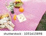 picnic bread croissant basket... | Shutterstock . vector #1051615898