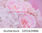 pink fake flowers in soft style ... | Shutterstock . vector #1051624886