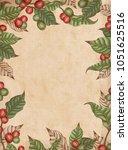 engraving coffee plants frame ... | Shutterstock .eps vector #1051625516