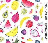 seamless tropical pattern of... | Shutterstock . vector #1051640732