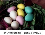 easter eggs painted with... | Shutterstock . vector #1051649828