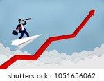 businessman standing on a plane ... | Shutterstock .eps vector #1051656062
