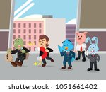 business animal pulling their... | Shutterstock .eps vector #1051661402